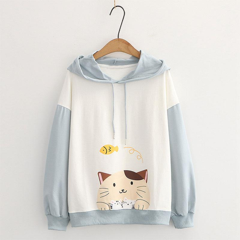 Modakawa Sweatshirt Blue / M Drop Shoulder Cartoon Cat Fish Print Hoodie Sweatshirt
