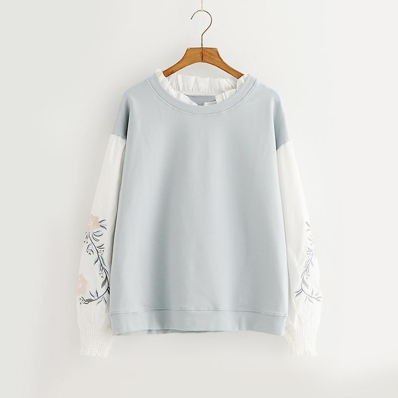 Modakawa Sweatshirt Blue / M Flower Embroidery Fake Two-Piece Sweatshirt
