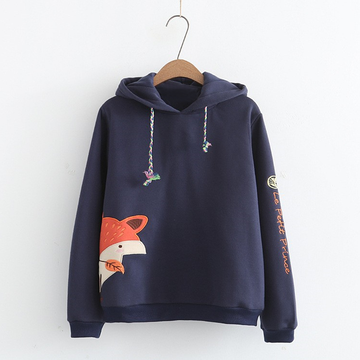 Modakawa Sweatshirt Blue / M Fox Print Long Sleeve Hoodie
