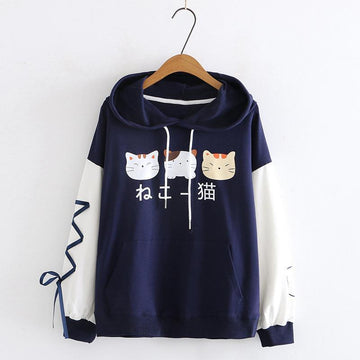 Modakawa Sweatshirt Blue / M Japanese Cat Ears Color Block Hoodie