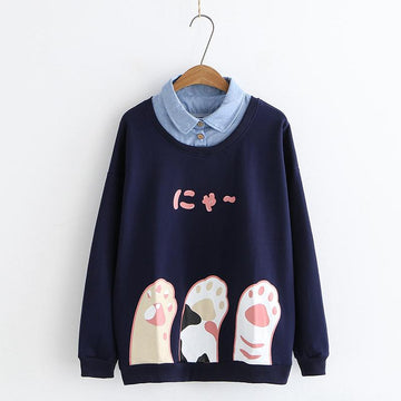 Modakawa Sweatshirt Blue / M Japanese Cat Paw Print Fake Two-Piece Sweatshirt