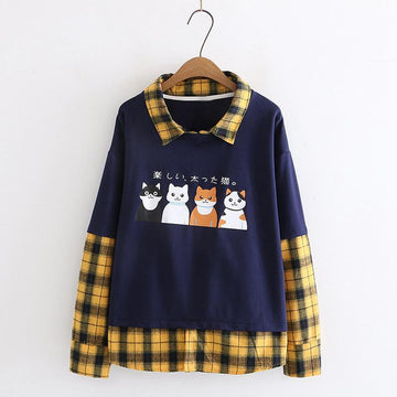 Modakawa Sweatshirt Blue / M Japanese Cat Plaid Fake Two-Piece Sweatshirt