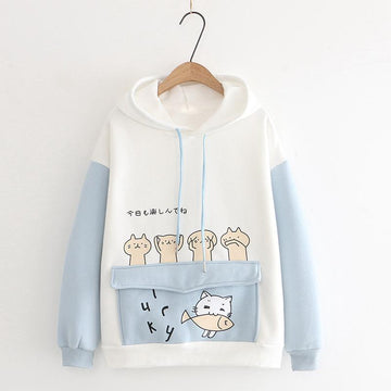 Modakawa Sweatshirt Blue / M Japanese Lucky Kitty Ears Fish Pocket Color Block Hoodie