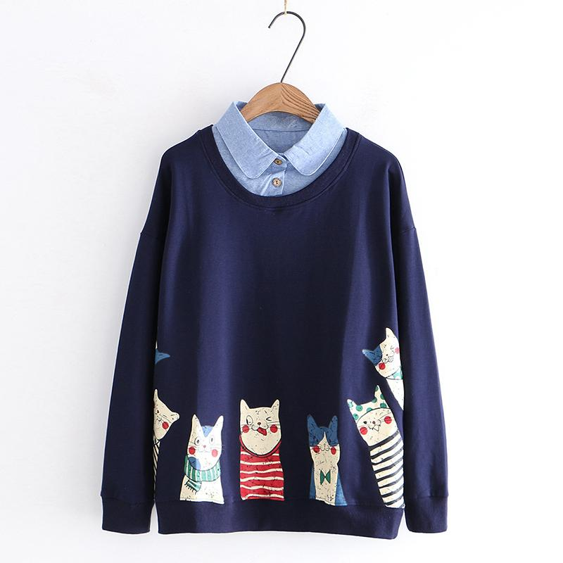 Modakawa Sweatshirt Blue / M Kitty Cartoon Print Fake Two-Piece Sweatshirt