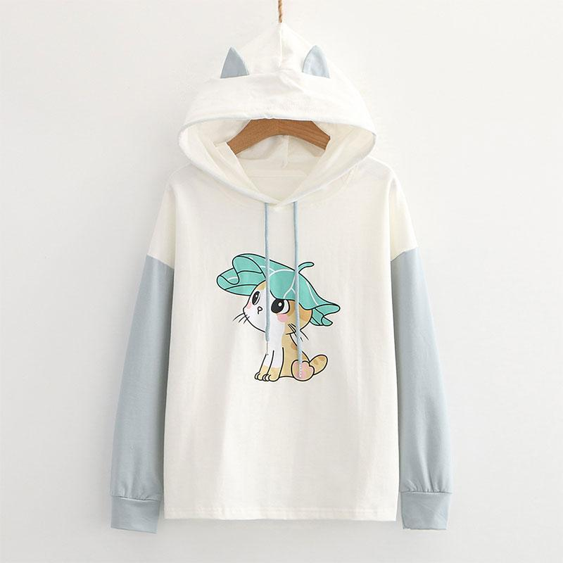 Modakawa Sweatshirt Blue / M Kitty Ears Print Color Block Hoodie