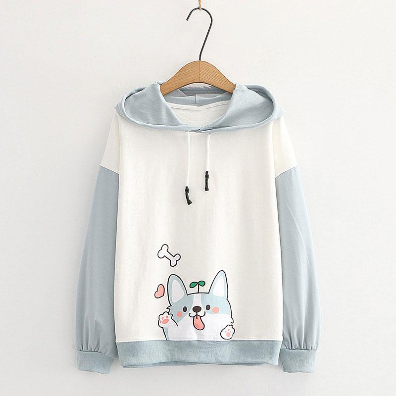 Modakawa Sweatshirt Blue / M Puppy Print Ears Color Block Hoodie