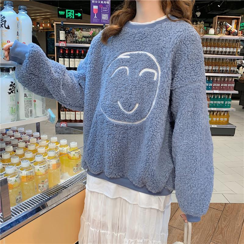 Modakawa Sweatshirt Blue / M Smile Face Fake Two-Piece Loose Sweatshirt