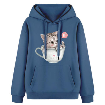 Modakawa Sweatshirt Blue / Normal / S Kitty Cup Print Hoodie