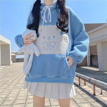 Modakawa Sweatshirt Blue / One Size Bear Bow Pocket Plush Hoodie
