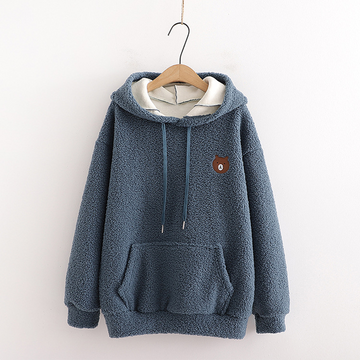 Modakawa Sweatshirt Blue / One Size Bear Embroidery Pocket Plush Hoodie