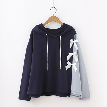Modakawa Sweatshirt Blue / One Size Bow Colorblock Hoodie