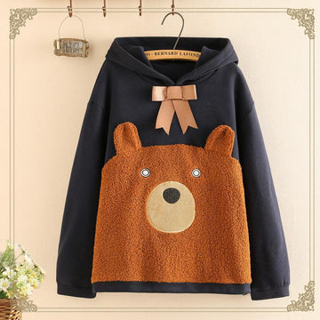 Modakawa Sweatshirt Blue / One Size Bowknot Bear Ears Cartoon Hoodie