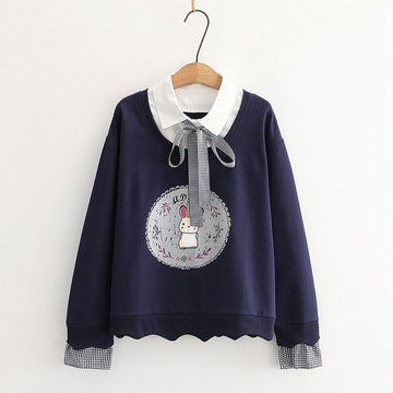 Modakawa Sweatshirt Blue / One Size Bunny Print Bow Tie Shirt Fake Two-Piece Sweatshirt
