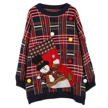 Modakawa Sweatshirt Blue / One Size Christmas Holiday Plaid Loose Sweater Round Neck