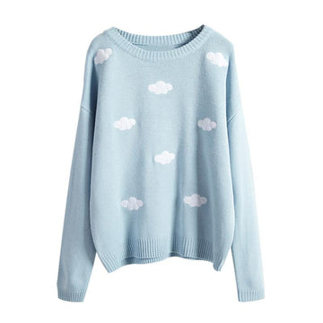 Modakawa Sweatshirt Blue / One Size Cloud Round Neck Sweater