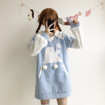 Modakawa Sweatshirt Blue / One Size Cute Bear Cartoon Brushed Long Hoodie