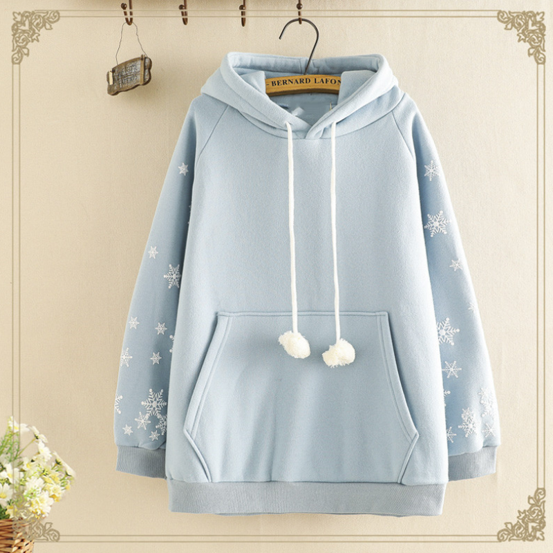 Modakawa Sweatshirt Blue / One Size Cute Snowflake Print Brushed Hoodie