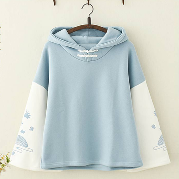Modakawa Sweatshirt Blue / One Size Fan Print Hoodie Color Block