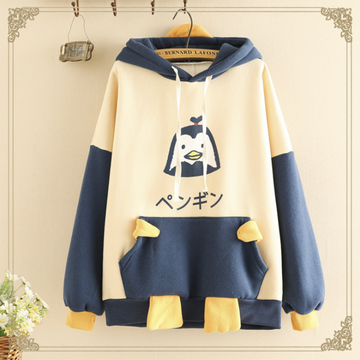 Modakawa Sweatshirt Blue / One Size Kawaii Cartoon Penguin Brushed Hoodie