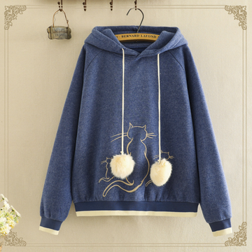 Modakawa Sweatshirt Blue / One Size Kawaii Cat Embroidery Brushed Hoodie