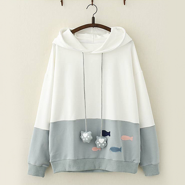 Modakawa Sweatshirt Blue / One Size Kawaii Fish Cat Claw Hoodie