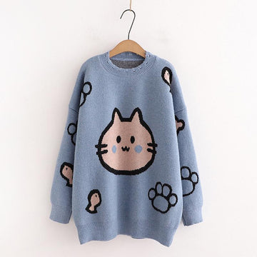 Modakawa Sweatshirt Blue / One Size Kitty Fish Claw Kintted Sweater