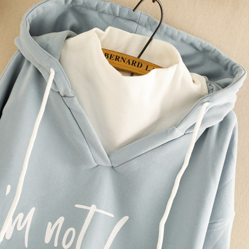 Modakawa Sweatshirt Blue / One Size Letter Print Fake Two-Piece Hoodie