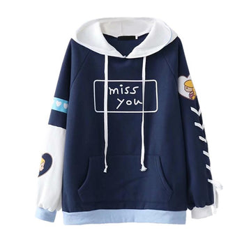 Modakawa Sweatshirt Blue / One Size Miss You Letter Cartoon Lace up Hoodie