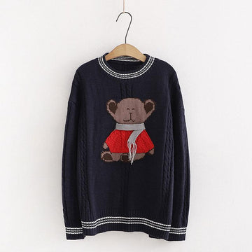 Modakawa Sweatshirt Blue / One Size Scarf Bear Round Neck Loose Knitted Sweater