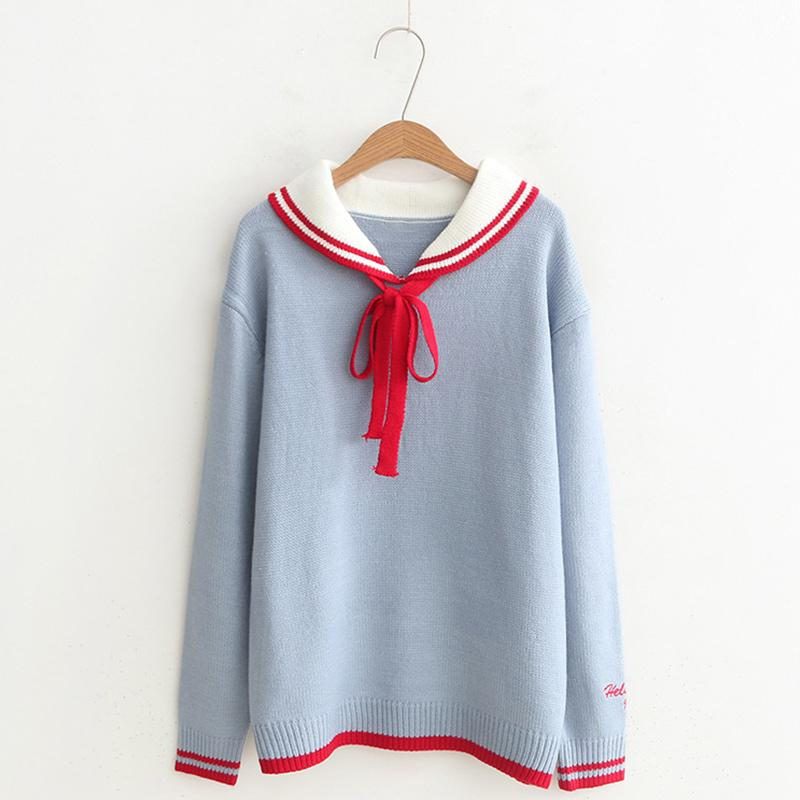 Modakawa Sweatshirt Blue / One Size School Collar Stripe Bowkont Tie Embroidery Knitted Sweatshirt