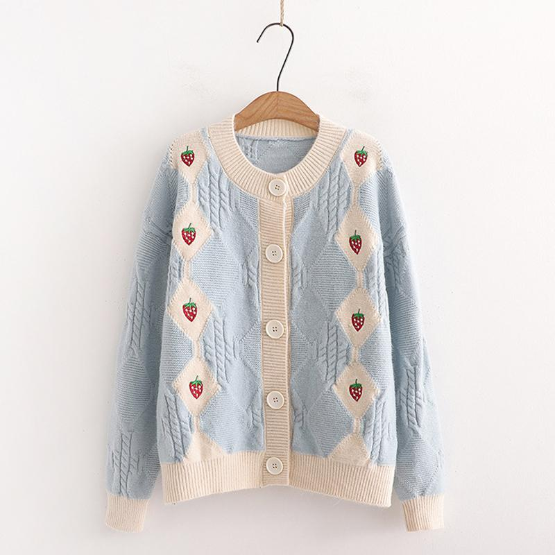Modakawa Sweatshirt Blue / One Size Strawberry Embroidery Button Knitted Cardigan