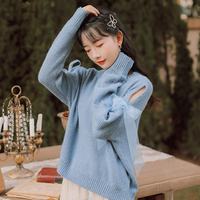 Modakawa Sweatshirt Blue / One Size Sweet Bow Strap Hollow Sweater