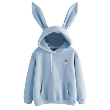 Modakawa Sweatshirt Blue / S Bunny Ears Embroidery Pocket Hoodie