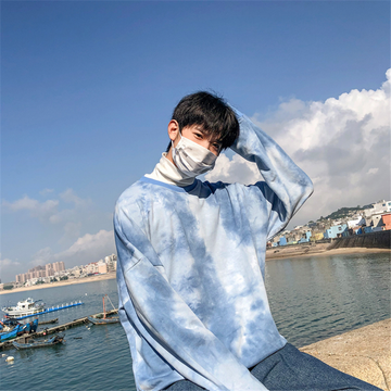Modakawa Sweatshirt Blue / S Girlfriend Boyfriend Drop Shoulder Tie Dye Sweatshirt
