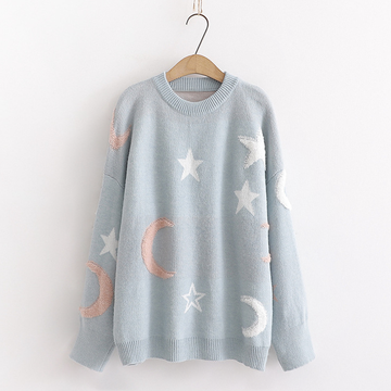 Modakawa Sweatshirt Blue Star Moon Loose Sweater