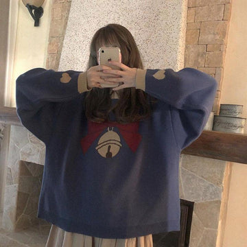 Modakawa Sweatshirt Bow Bell Love Heart Sweater