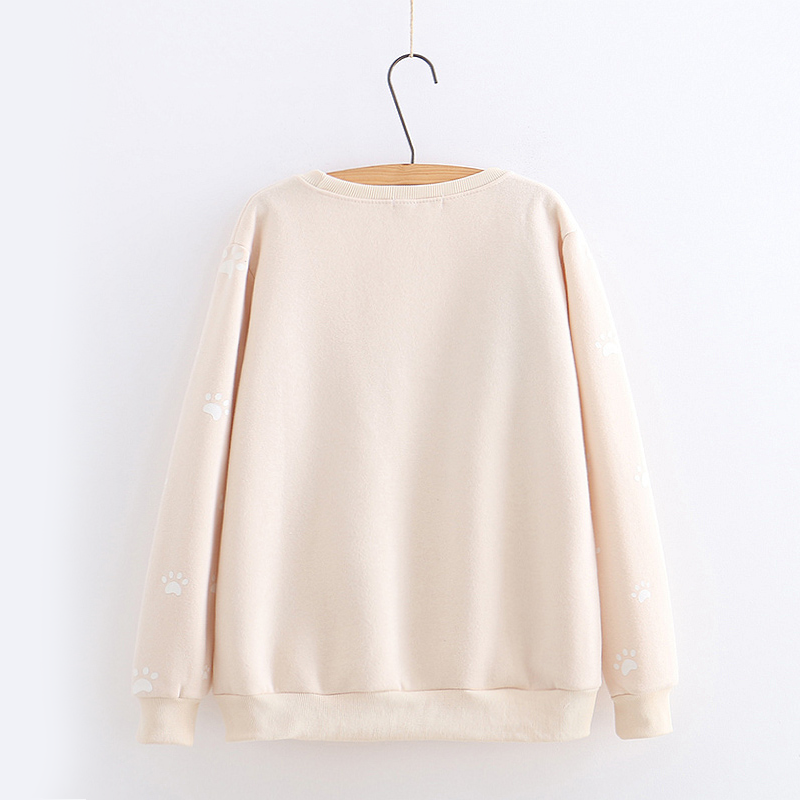 Modakawa Sweatshirt Bow-Knot Kitty Yarn Ball Sweatshirt