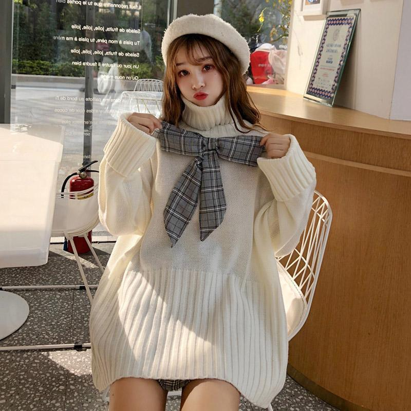 Modakawa Sweatshirt Bow Plaid Loose Sweater