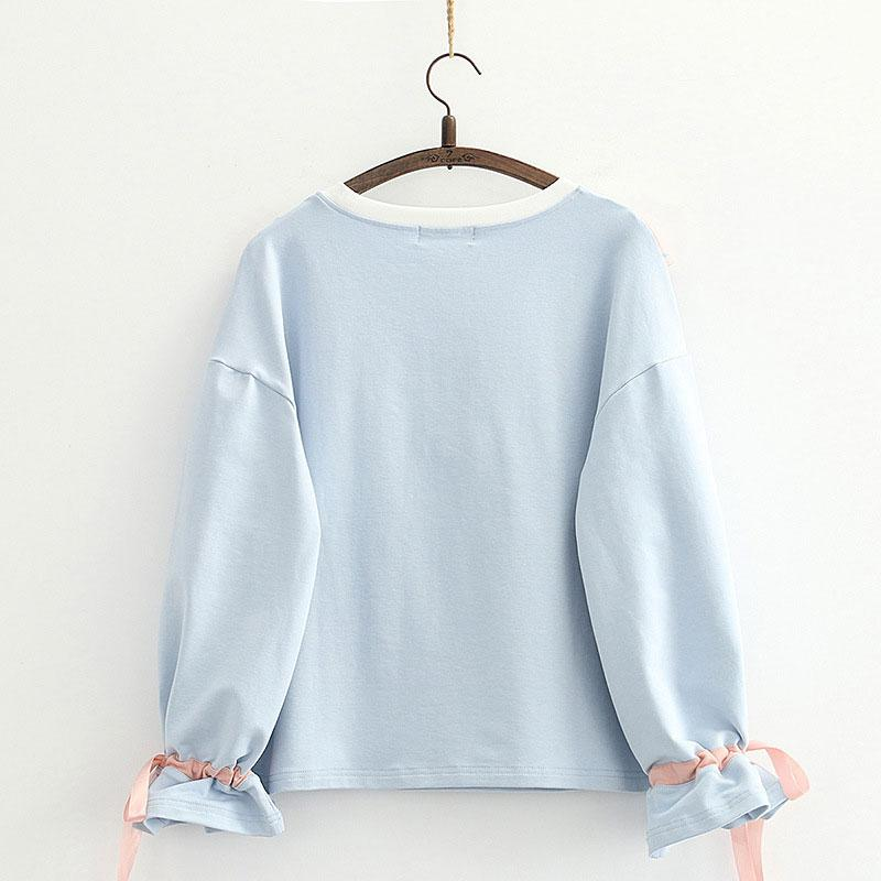 Modakawa Sweatshirt Bow Ruffle Color Block Drawstring Sweatshirt