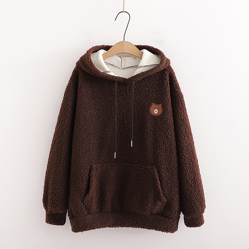 Modakawa Sweatshirt Brown / One Size Bear Embroidery Pocket Plush Hoodie