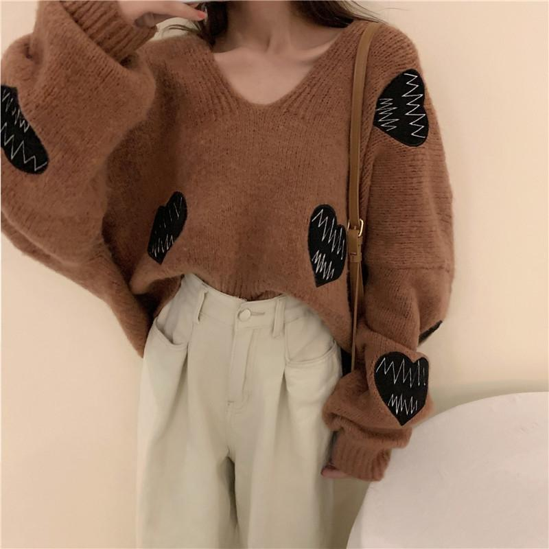 Modakawa Sweatshirt Brown / One Size Love Heart Embroidery V Neck Loose Sweater