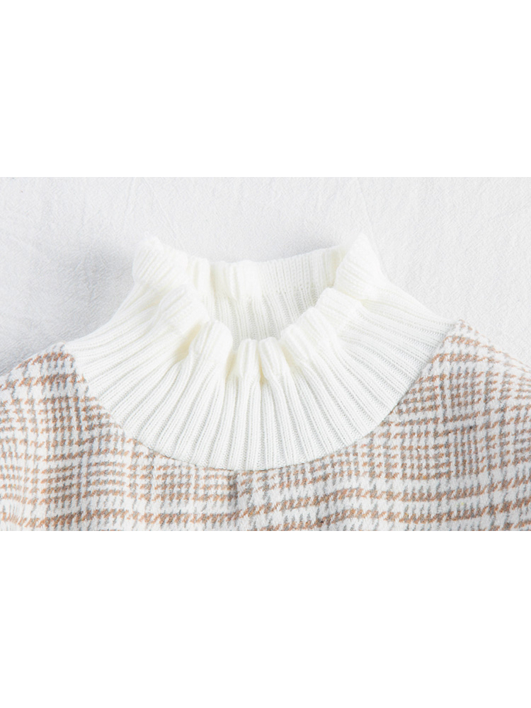 Modakawa Sweatshirt Brown Plaid Fungus Lace Sweatshirt