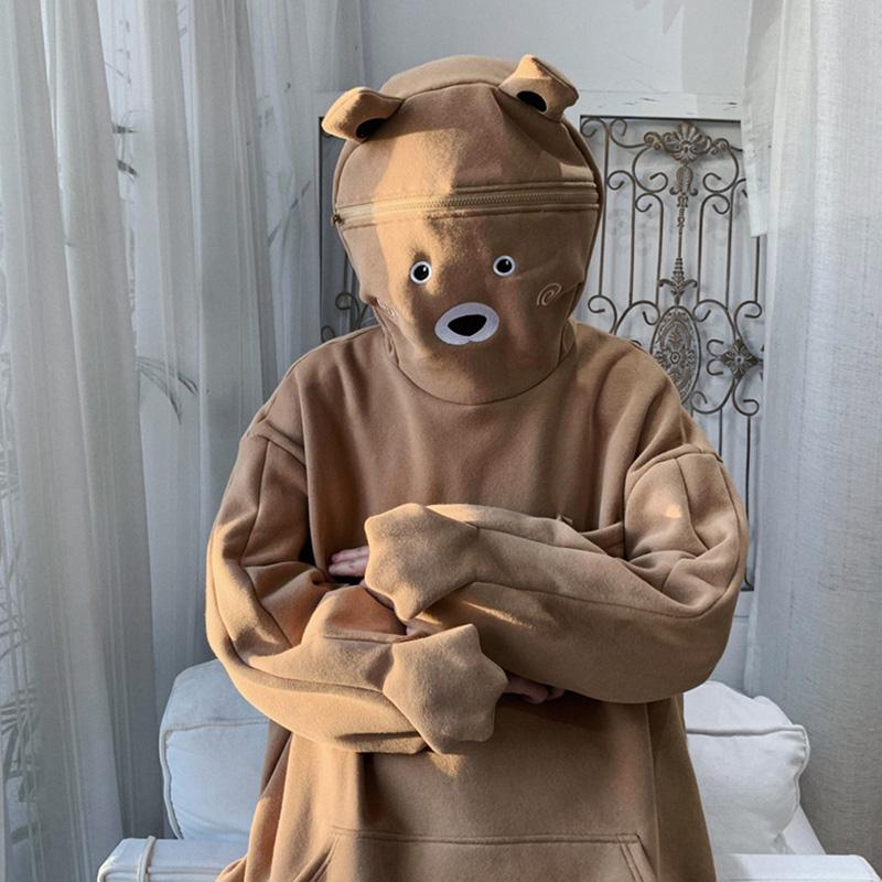 Modakawa Sweatshirt Brown / S Bear Ears Zipper Pocket Oversized Hoodie