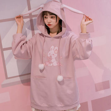 Modakawa Sweatshirt Bunny Bear Print Ears Tail Pocket Fuzzy Ball Drawstring Hoodie