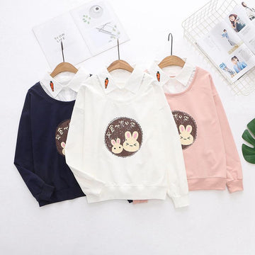 Modakawa Sweatshirt Bunny Carrot Fake Two-Piece Shirt Sweatshirt