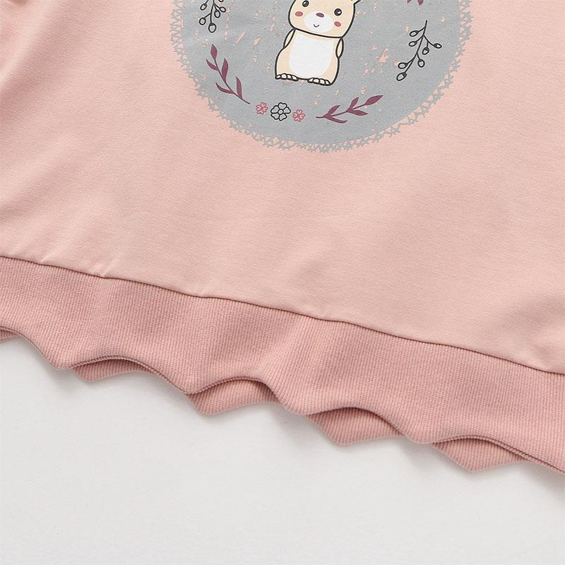Modakawa Sweatshirt Bunny Print Bow Tie Shirt Fake Two-Piece Sweatshirt