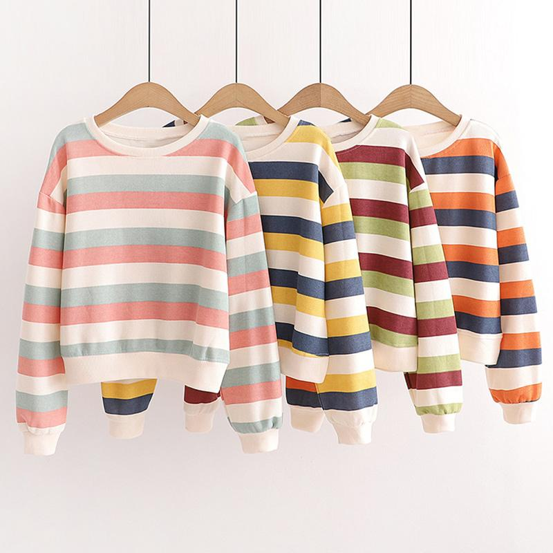Modakawa Sweatshirt Candy Color Stripe Short Sweatshirt
