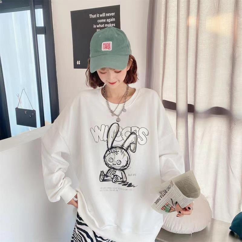 Modakawa Sweatshirt Cartoon Bunny Print Oversized Sweatshirt
