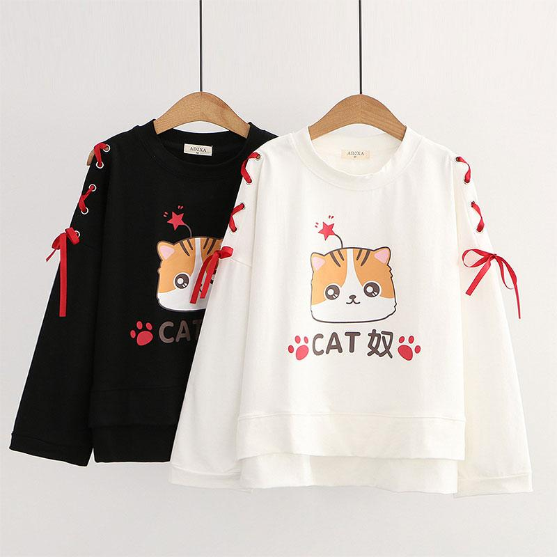 Modakawa Sweatshirt Cartoon Cat Star Print Lace Up Bow Sleeves Sweatshirt