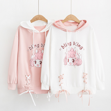 Modakawa Sweatshirt Cartoon Letter Print Rabbit Ears Drawstring Hoodie